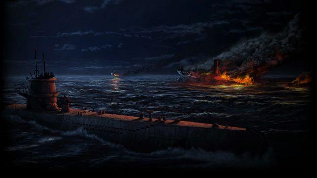 """""""Unseen""""- video igra prilagođena za slijepe osobe. Na fotografiji podmornica i brod u plamenu, prevladava tamna boja"""
