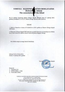 Odluka o ukidanju članarine za 2021.