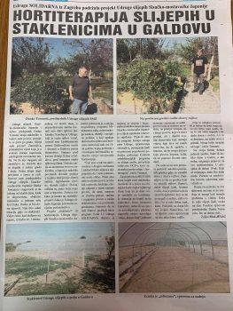 Članak o vrtlarenju u Novom Sisačkom tjedniku